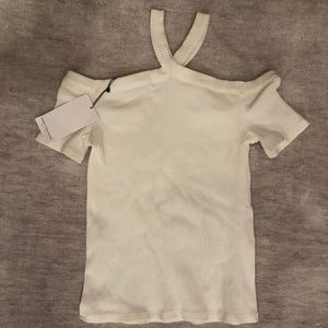 NWT ZARA ribbed white top with straps around neck